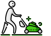 Lawn Mowing Man Icon